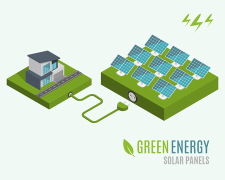 panels: House with alternative Eco Green Energy, flat 3d web isometric infographic concept. Solar Panels set. Vector illustration.