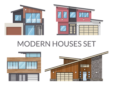 Modern family houses set, real estate signs in flat style. Vector illustration.