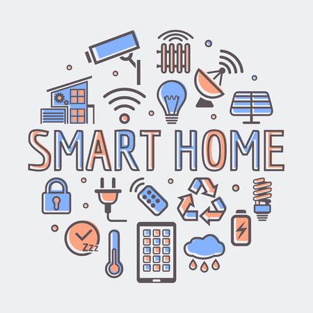 Smart Home tondo illustrazione, simbolo tecnologia creativa o il modello di web design.