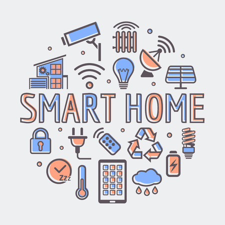 Smart Home round illustration, creative technology symbol or web design template.