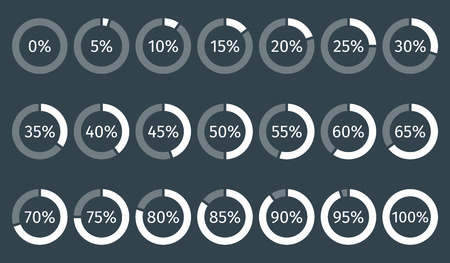 0 to 5: Set of circle percentage diagrams for infographics, 0 5 10 15 20 25 30 35 40 45 50 55 60 65 70 75 80 85 90 95 100 percent. Vector illustration.
