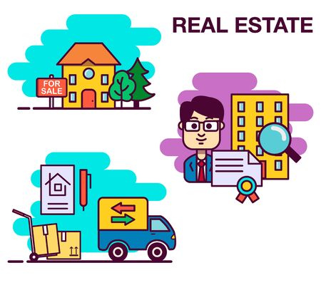 apartment search: Real estate design concept set with online search apartment rental market buying flat icon isolated vector illustration.