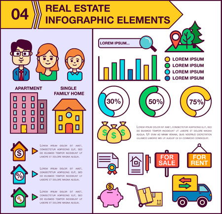 single family: Real Estate infographic template and elements. The template includes illustrations of men, women and child. Modern colored flat vector design. Apartment, single family home. Illustration