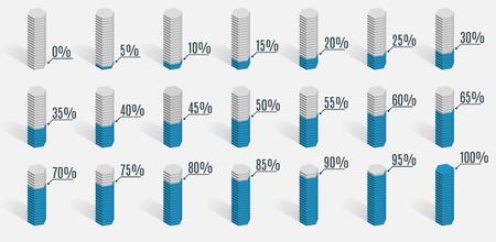 75 80: Set of blue percentage charts for infographics, 0 5 10 15 20 25 30 35 40 45 50 55 60 65 70 75 80 85 90 95 100 percent. Vector illustration. Illustration
