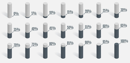 0 to 5: Set of gray percentage charts for infographics, 0 5 10 15 20 25 30 35 40 45 50 55 60 65 70 75 80 85 90 95 100 percent. Vector illustration.