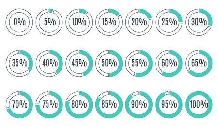 75 80: Set of blue circle percentage diagrams for infographics, 0 5 10 15 20 25 30 35 40 45 50 55 60 65 70 75 80 85 90 95 100 percent. Vector illustration.