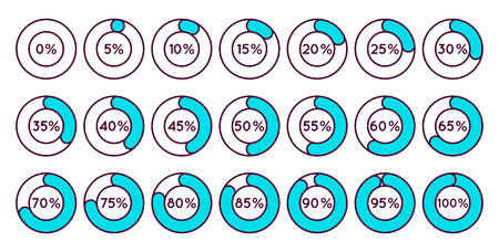 0 to 5: Set of blue circle percentage diagrams for infographics, 0 5 10 15 20 25 30 35 40 45 50 55 60 65 70 75 80 85 90 95 100 percent. Vector illustration.