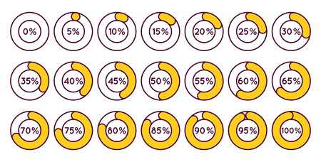 75 80: Set of orange circle percentage diagrams for infographics, 0 5 10 15 20 25 30 35 40 45 50 55 60 65 70 75 80 85 90 95 100 percent. Vector illustration.