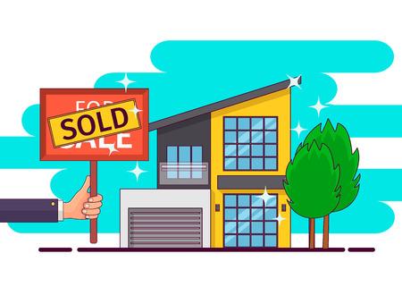 real estate sold: Real estate. Hand holding sold sign. Vector illustration Illustration