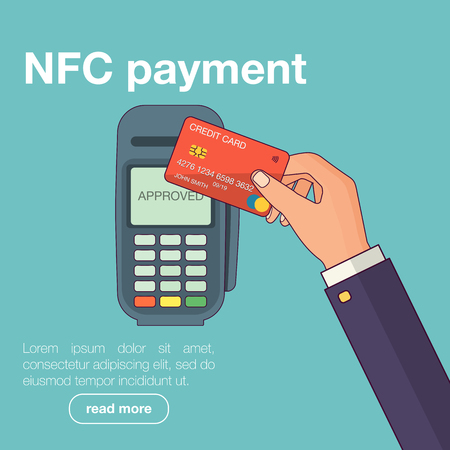 transactions: Mobile payments with smartphone. Near field communication payment terminal concept. Online transactions, paypass and NFC. Cartoon flat style vector illustration