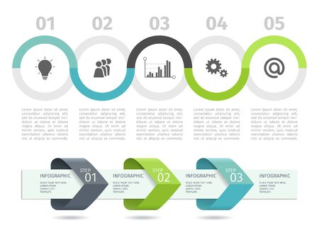 Infographic process chart and arrows with step up options. Vector template
