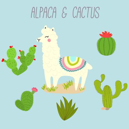Cute Vector Llama and Cactus Design Elements. Illustration