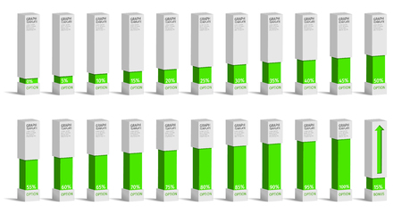 85 90: Set of green percentage charts for infographics, 0 5 10 15 20 25 30 35 40 45 50 55 60 65 70 75 80 85 90 95 100 percent. Vector illustration. Illustration