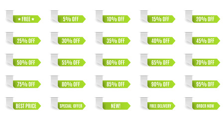 70 75: Green discount label set vector for design. 5 10 15 20 25 30 35 40 45 50 55 60 65 70 75 80 85 90 95 percent.