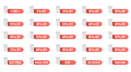 Red discount label set vector for design. 5 10 15 20 25 30 35 40 45 50 55 60 65 70 75 80 85 90 95 percent. Stock Photo