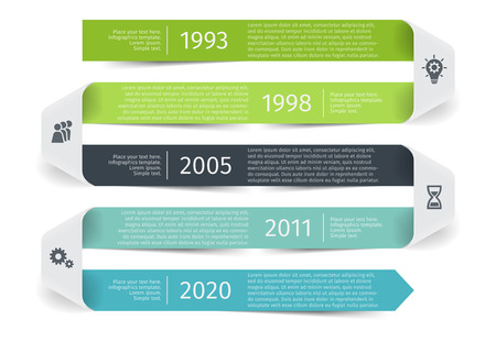 Modern colorful template business concept timeline ribbon arrow. Infographics layout with 5 steps, parts, options, stages, for presentation.
