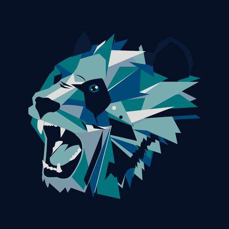 Vector illustration of geometric roar bear panda on dark background 向量圖像