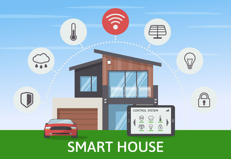 Cool  Smart House with car infographic banner. Flat design style concept, technology system with centralized control. Vector illustration. Illustration