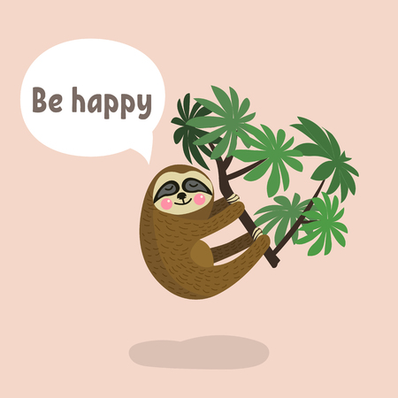 Sloth hanging on tree branch . Cute cartoon character. Wild jungle animal collection. Baby education. Isolated. Flat design Vector illustration Illustration