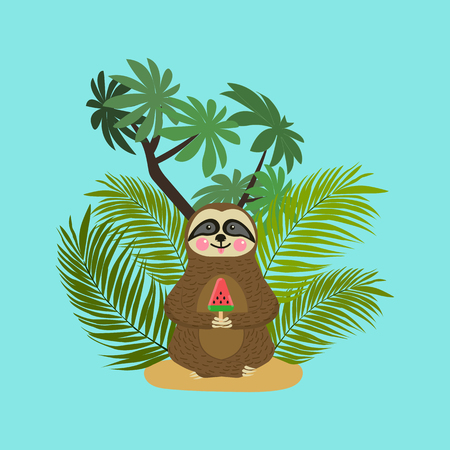 sloth: Cute baby sloth eating watermelon ice cream. Cartoon character. Wild jungle animal collection. Baby education. Isolated. Flat design Vector illustration Illustration