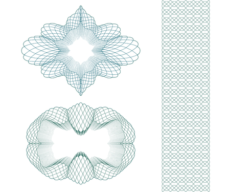 Set: Ellipse Guilloche Pattern Rosette and border for certificate or diploma, isolated. Vector illustration. Ilustração