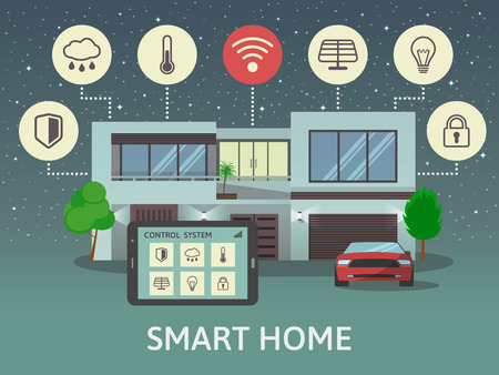 Modern Smart Home, at night. Flat design style concept, centralized control system. Vector illustration.