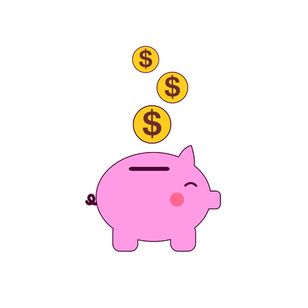 Pig bank with coins vector illustration in flat style. The concept of saving or save money or open a bank deposit. The idea of an icon of investments in the form of a toy pig bank Illustration