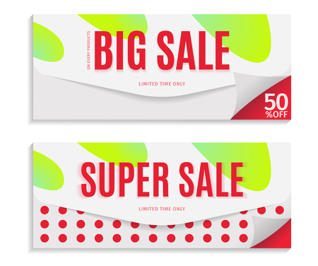 Big and Super Sale banner template design, red text on envelope background. Vector illustration.