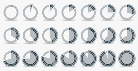 85 90: Set of circle percentage diagrams for infographics, 0 5 10 15 20 25 30 35 40 45 50 55 60 65 70 75 80 85 90 95 100 percent. Vector illustration.