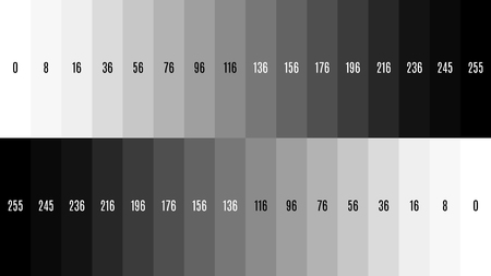 8K TV Black and white gradient television test pattern to adjust the screen. Imagens
