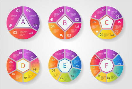 Colorful Vector circle arrows for infographic. Template for cycling diagram, graph, presentation and round chart. Business concept with 3 4 5 6 7 8 options, parts, steps or processes