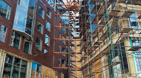 reinforcement: Construction of unfinished buildings, scaffolding, installation of windows