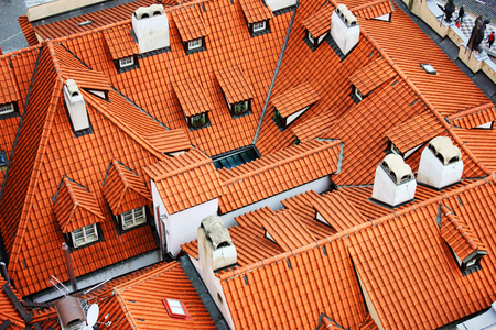 A view of typical Prague house with red tile roof. Stock Photo