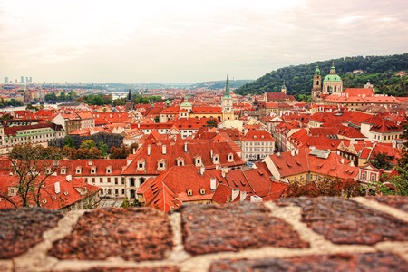 city park skyline: Top view to red tile roofs of Prague city Czech republic. Typical Prague houses.