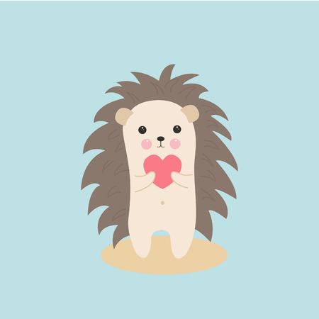 Greeting card Valentines day. Cute hedgehog with a pink heart in paws