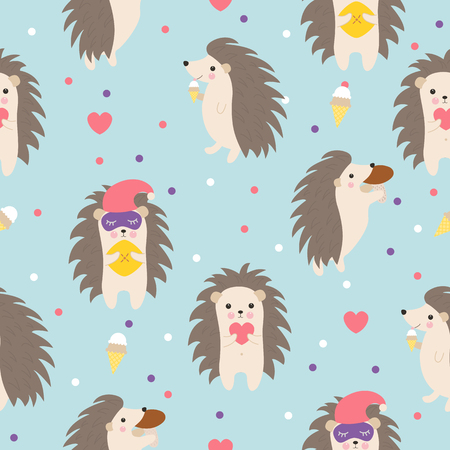 Hedgehog seamless pattern on blue background perfect for fabric and card.