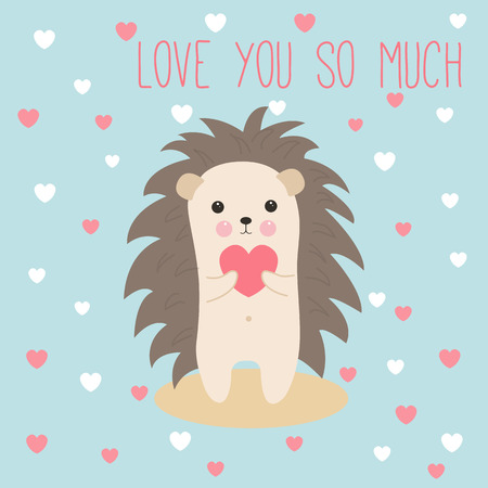 Cute hedgehog card with pink heart in paws. Happy Valentines day card. Love you so much.