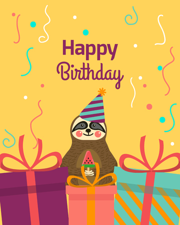 Happy Birthday greeting templates. Invitation cards to the party. Vector banner with cute small sloth and gifts.