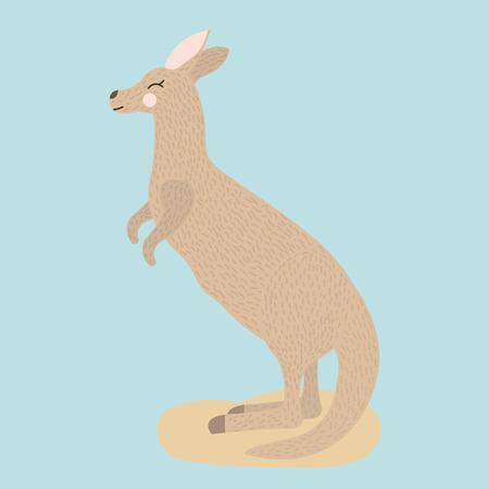 Cute cartoon kangaroo on blue background, vector illustration. Ilustração