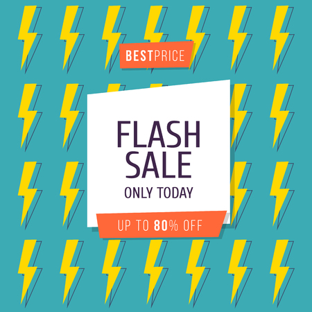 Flash Sale banner template design, Big sale special up to 80 percent off. Vector illustration Çizim