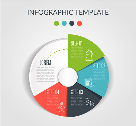 Circle chart infographic template with 4 options for presentations, advertising, layouts, annual reports. Vector illustration