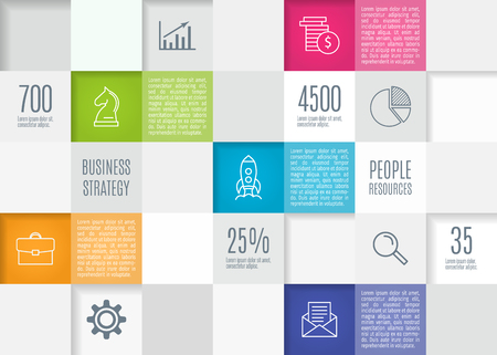 Abstract squares background in flat design, infographic template for presentation. Vector illustration.
