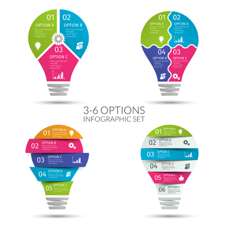 Modern colorful light bulb infographic set. Business concept with 3 4 5 6 options, parts, steps or processes. Template for presentation, chart, graph. Vector illustration.
