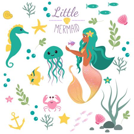 Nettes Set Kleine Meerjungfrau und Unterwasserwelt. Märchenprinzessin Meerjungfrau und Seepferdchen, Fisch, Quallen, Krabben. Unter Wasser in der mythischen Meeressammlung des Meeres Vektorgrafik