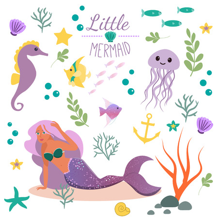 Cute set Little mermaid and underwater world. Fairytale princess mermaid and seahorse, fish, jellyfish. Under water in the sea mythical marine collection Illustration