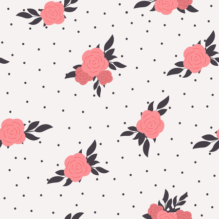 Seamless floral polka dot background. Shabby chic style pattern with pink roses