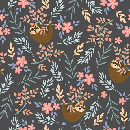 Patrón tropical transparente de vector con lindos perezosos. Se puede utilizar para papel tapiz, rellenos de patrones, texturas superficiales, estampados de tela.