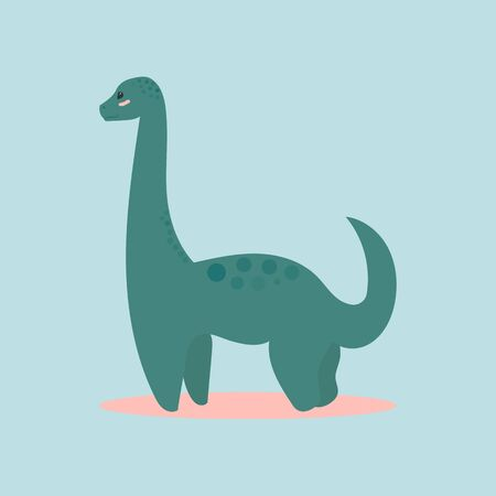 Dinosaur icon diplodocus for designing dino party, children holiday, dinosaurus related materials. For card, poster, banner, logo, icon. Jurassic park theme