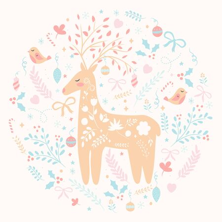 Christmas decorations postcard background with deer, birds, floral elements. Vector illustration