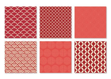 6 different chinese vector seamless patterns. Texture can be used for wallpaper, pattern fills, web page background,surface textures
